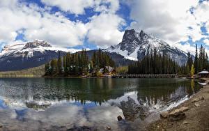 Фотографии Канада Парки Гора Озеро Леса Пирсы Пейзаж Yoho National Park Природа