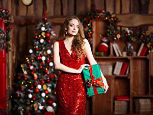 Фотография Новый год Шатенки Платье Подарок Девушки