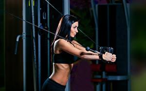 Фотография Фитнес Брюнетка Физические упражнения Девушки