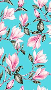 Обои для рабочего стола Магнолия Рисованные Текстура Ветвь Листва Голубая Розовая цветок