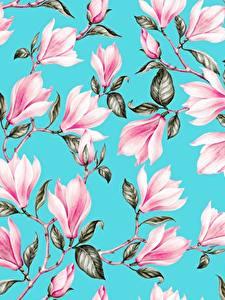 Фото Магнолия Рисованные Текстура Ветвь Листва Голубая Розовая цветок