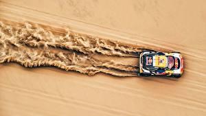 Фотография Пежо Ралли Сверху Песке 3008 DKR, Red Bull, Dakar Автомобили