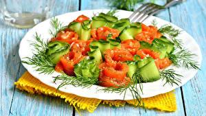 Картинки Салаты Овощи Укроп Доски Тарелка Еда