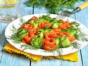 Картинки Салаты Овощи Укроп Доски Тарелка Пища
