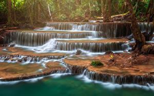 Фото Таиланд Парк Водопады Тропики Huay Mae Khamin Waterfall Природа