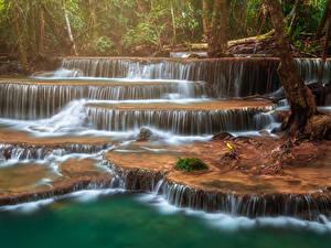 Фото Таиланд Парк Водопады Тропики Huay Mae Khamin Waterfall