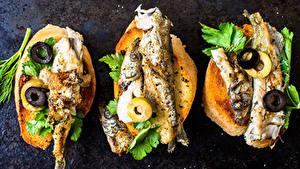 Картинки Бутерброды Морепродукты Рыба Хлеб Оливки Овощи