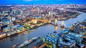 Фото Англия Здания Речка Мосты Пирсы Корабли Лондон Мегаполис