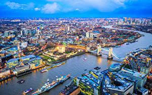 Фото Англия Здания Река Мост Причалы Корабль Лондоне Мегаполис