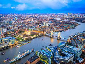 Фото Англия Здания Река Мост Причалы Корабль Лондоне Мегаполис город