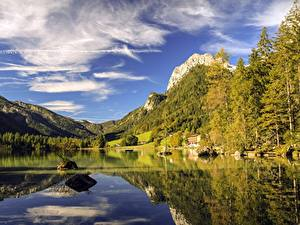 Картинки Озеро Гора Леса Камень Германия Бавария Berchtesgaden, Lake Hintersee Природа