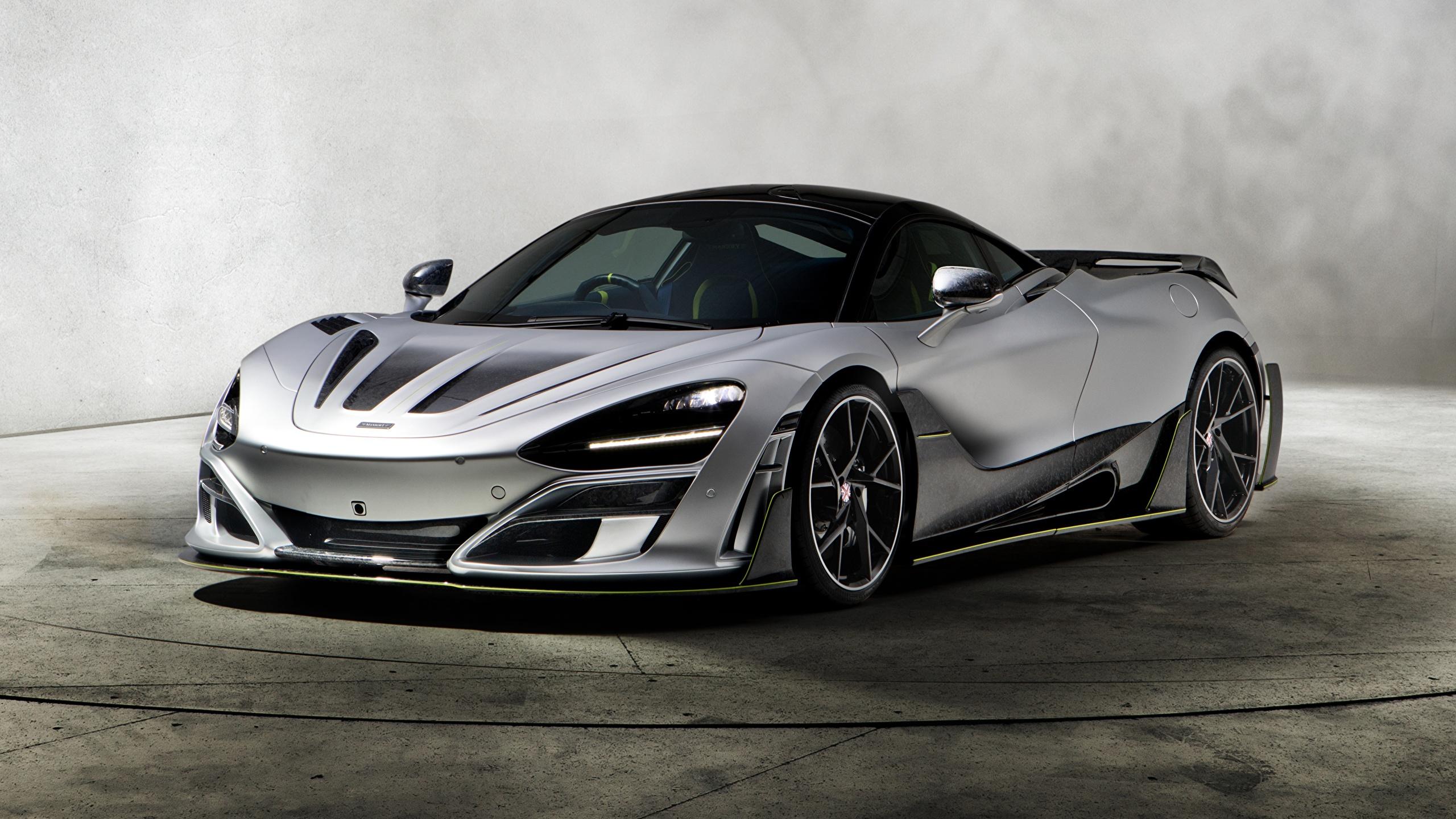 Картинки Макларен Mansory 720S Серебристый автомобиль 2560x1440 McLaren серебряный серебряная серебристая авто машина машины Автомобили