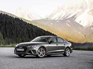 Обои Audi Серый Металлик 2019 A4 45 TFSI quattro S line Worldwide Автомобили