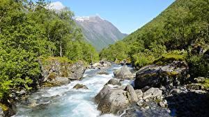Картинки Река Камни Горы Леса Норвегия Trollstigen, Westland