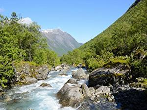 Картинки Река Камни Горы Леса Норвегия Trollstigen, Westland Природа