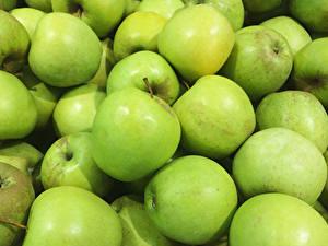 Фото Яблоки Крупным планом Зеленый Продукты питания