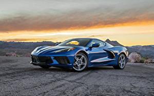 Фотографии Chevrolet Металлик Синие 2020 Corvette Stingray машина