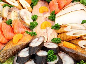 Картинка Морепродукты Рыба Нарезанные продукты