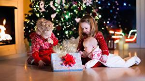 Фото Рождество Три Мальчишка Девочки Грудной ребёнок Подарки Дети
