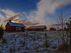 Обои Швеция Дома Зима Вечер Небо Снеге Города