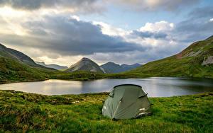 Обои Шотландия Горы Озеро Палатка Трава Природа