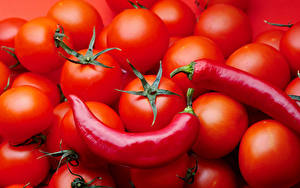 Фотография Помидоры Острый перец чили Красный Еда