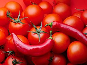 Фотография Помидоры Острый перец чили Красный