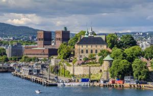 Фотографии Норвегия Осло Дома Причалы Залив Города
