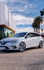 Обои для рабочего стола Renault Белый Металлик Гибридный автомобиль 2020 Mégane E-TECH Plug-in Hybrid Estate Worldwide автомобиль