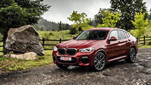 Обои BMW Дождь Бордовый Металлик 2018 X4 xDrive25d M Sport Worldwide Автомобили