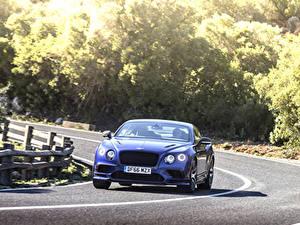 Фотографии Bentley Дороги Движение Синий Спереди continental gt supersport 2018 машины