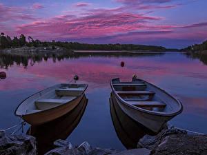 Картинки Швеция Река Вечер Пирсы Лодки Небо Вдвоем Природа