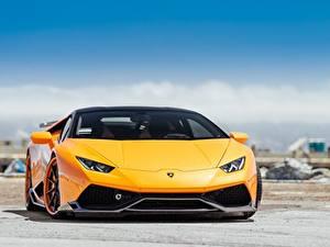 Обои Ламборгини Спереди Металлик Оранжевых Желтая Hyuracan