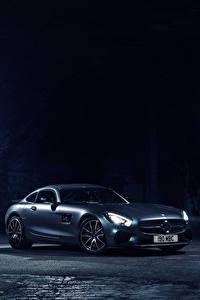 Картинка Mercedes-Benz Ночь C190, 2015, UK-spec, Edition 1, AMG, GT S Машины