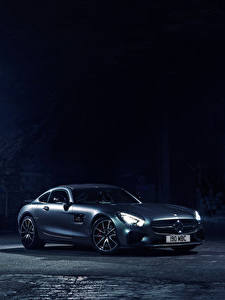 Картинка Mercedes-Benz Ночь C190, 2015, UK-spec, Edition 1, AMG, GT S Машины
