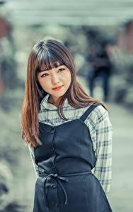 Фотография Азиатки Боке Шатенки Смотрит девушка