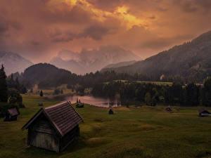 Фотографии Германия Горы Озеро Леса Луга Дома Вечер Geroldsee