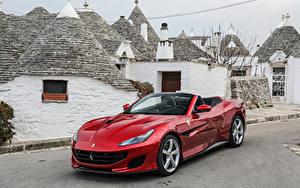 Фото Ferrari Красный Металлик Кабриолет 2018 Portofino Автомобили