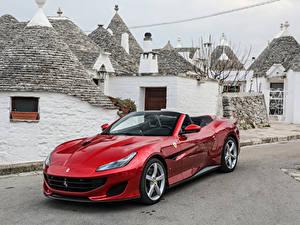 Фото Ferrari Красная Металлик Кабриолет 2018 Portofino Автомобили
