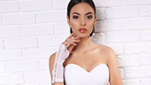 Фотографии Брюнетки Рука Перчатки Невесты Платье