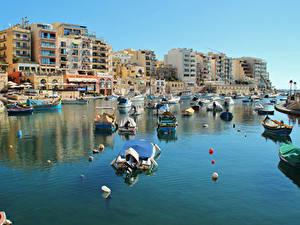 Фотографии Мальта Здания Причалы Катера Залив Saint Julian's Города