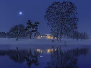 Картинки Швеция Зимние Реки Здания Снеге В ночи Луной Дерево Природа