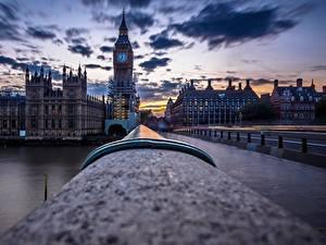 Фото Англия Мосты Вечер Лондон Биг-Бен
