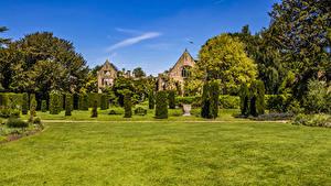 Фото Великобритания Парки Дизайна Кусты Газон Nymans Gardens Природа