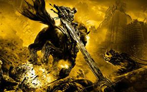 Картинки Darksiders Лошадь Нечисть Меч Бегущая компьютерная игра Фэнтези