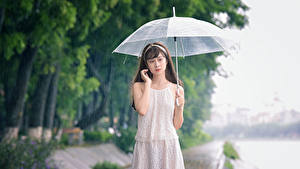 Фотографии Азиаты Дождь Зонтом Платья Девушки