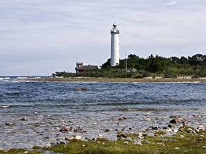 Фото Камень Побережье Маяк Швеция Lighthouse Long Erik, Island Of Oland Природа
