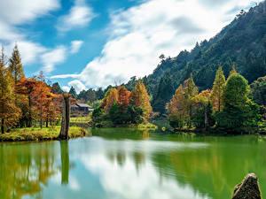 Обои Тайвань Горы Осень Реки Деревья Mingchi