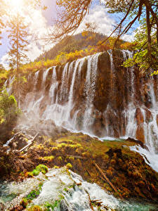 Картинки Цзючжайгоу парк Китай Парки Водопады Осень Природа