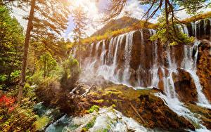 Картинки Цзючжайгоу парк Китай Парки Водопады Осень
